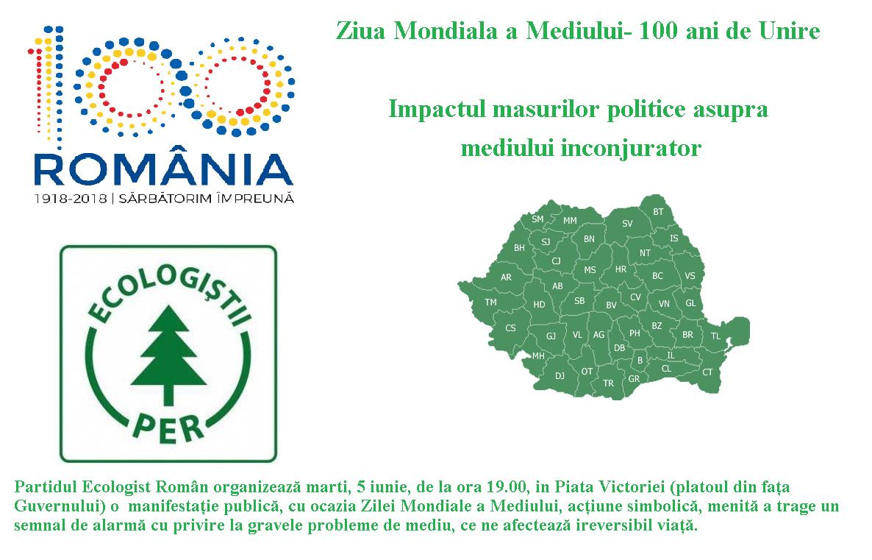 Ziua Mondiala a Mediului- 100 ani de Unire Impactul masurilor politice asupra mediului inconjurator